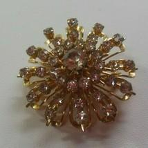 Vintage Signed CORO Gold-tone & Clear Rhinestone Starburst Brooch - $19.99