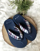 Sperry Top Sider Plaid Flip Flop Sandals Navy Blue Red White NEW 5 5.5 W... - $19.34