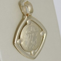 Pendant Medal Yellow Gold 375 9K, Face Christ, Rhombus, Satin, Made IN Italy image 2