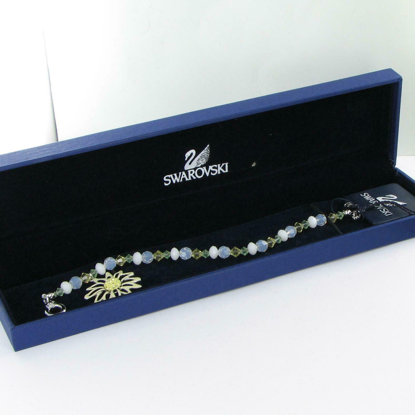 Swarovski White Daisy Beaded Charm Bracelet 1514799 Cert New in Box
