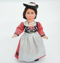 Vintage German Doll Plastic Traditional Folk Costume Long Dress Hat Brai... - $14.84