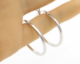 925 Sterling Silver - Heavy Duty Medium Size Hinge Closure Hoop Earrings... - $24.74