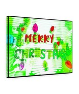 "Merry Christmas Canvas Artwork 24"" x 18"" Gallery Wrapped Gilcée Print -B... - $69.99"