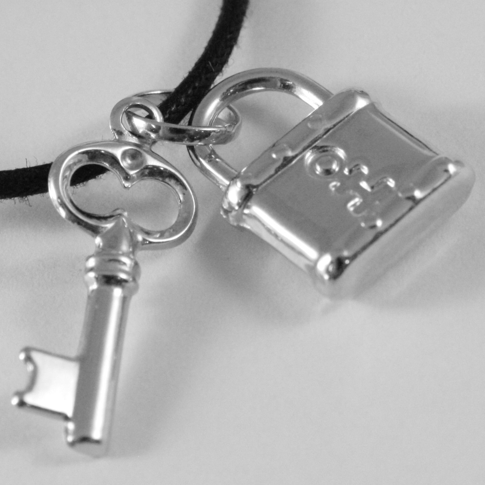 18K WHITE GOLD ROUNDED PADLOCK AND KEY PENDANT CHARM 27 MM SMOOTH MADE IN ITALY