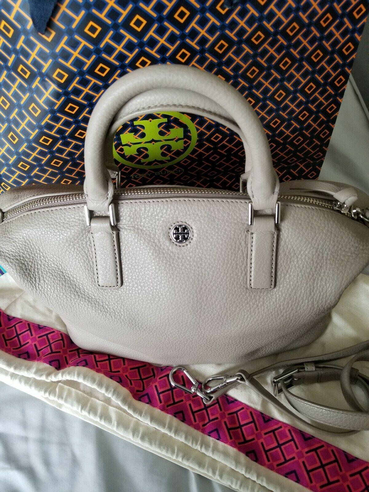 TORY BURCH $495 Brody French Gray Leather Crossbody Bag Handbag