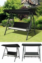Black Garden Swing Chair Outdoor Balcony Patio Hanging Bench Lounger Can... - $382.65
