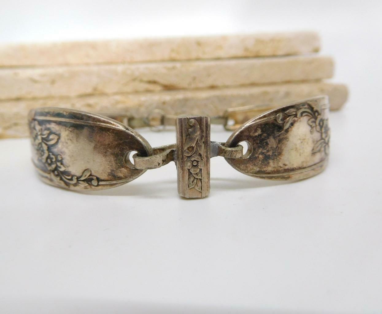 Vintage Silver Plated Victorian Flower Design Spoon Bracelet DD13