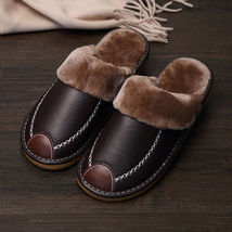 Men's Home Slippers Winter Warm Leather Indoor Flats Comfy Close Toe Hou... - $42.90