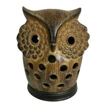 """Vintage 60s Ceramic Stoneware 2 Piece 5"""" Owl Incense Burner Holder Japan... - $22.09"""