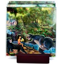 Thomas Kinkade The Jungle Book Prints 4 Piece Fused Glass Coaster Set w Holder image 2