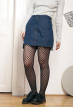 90s vintage cropped denim mini skirt w frayed hem - $34.91