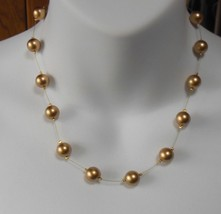 CAROLEE Signed Gold Tone Simulated Pearl/Wire Illusion Necklace  - $74.25