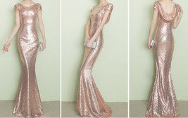 CHAMPAGNE GOLD Short Sleeve Long Sequin Dress Bridesmaid Long Maxi Sequin Dress image 5