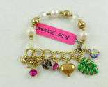 BETSEY JOHNSON Gold tone Faux PEARL CHARM BRACELET - 7 inches - NWT - FREE SHIP