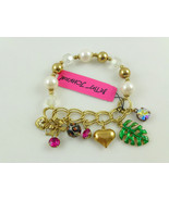 BETSEY JOHNSON Gold tone Faux PEARL CHARM BRACELET - 7 inches - NWT - FREE SHIP - $39.95