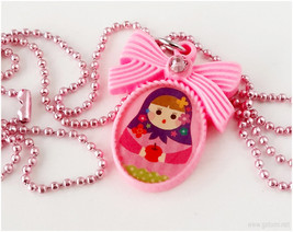 Pink Matryoshka Necklace, Resin Pendant, Long Ball Chain - Kawaii Jewelry - $12.00