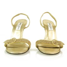 Authentic Jimmy Choo Gold w/ Crystals & Buckle Slingback Leather Sandals -Sz37.5 image 2