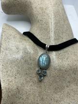 Vintage Rainbow Labradorite Blue Topaz choker pendant necklace - $94.05