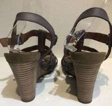 franco sarto Taupe Purple strappy cage leather heels Size 10.5 image 4