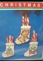 "Bernat Noel Stockings Christmas Needlepoint Cross Stitch Kit 2.5x 3.5"" V... - $10.39"