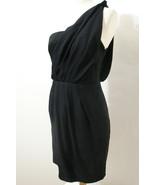 BLACK HALO 100% Silk Black Grecian One-Shoulder Wiggle Dress NWOT 4 - $134.99