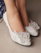 Ivory White Wedding shoes low heel,Lace Butterfly Bridal Shoes UK Size 2... - £30.95 GBP