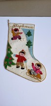 "Finished Complete Bucilla Felt Christmas Stocking ""Children at Play"" Vin... - $75.00"