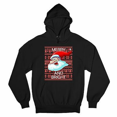 Primary image for Merry And Bright Sweatshirt Ugly Sweater Santa Claus Jingle Bells Hoodie