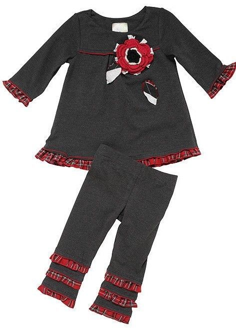 Primary image for Twirls & Twigs Toddler Girls Gray Red Size 2T Top & Leggings 2pcs Outfit NWT