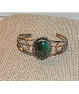 Estate Vintage Green Malachite Silver Cuff Bracelet with Beading Design ... - $45.00
