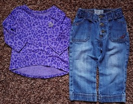 Girl's Size 18 M 12-18 Months 2 Pc Purple PLACE Animal Print LS Top & OK... - $22.00