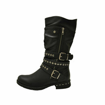 Pierre Dumas Perham-6 Black Women's Block Heel Mid-Calf Moto Boots - $53.95