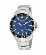 HUGO BOSS 1513230 SILVER STAINLESS STEEL DEEP OCEAN BLUE DIAL DATE MEN'S... - £100.56 GBP