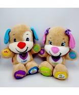 FisherPrice LaughAndLearn SmartStages Blue&Pink Dog Plush Interactive Li... - £25.44 GBP