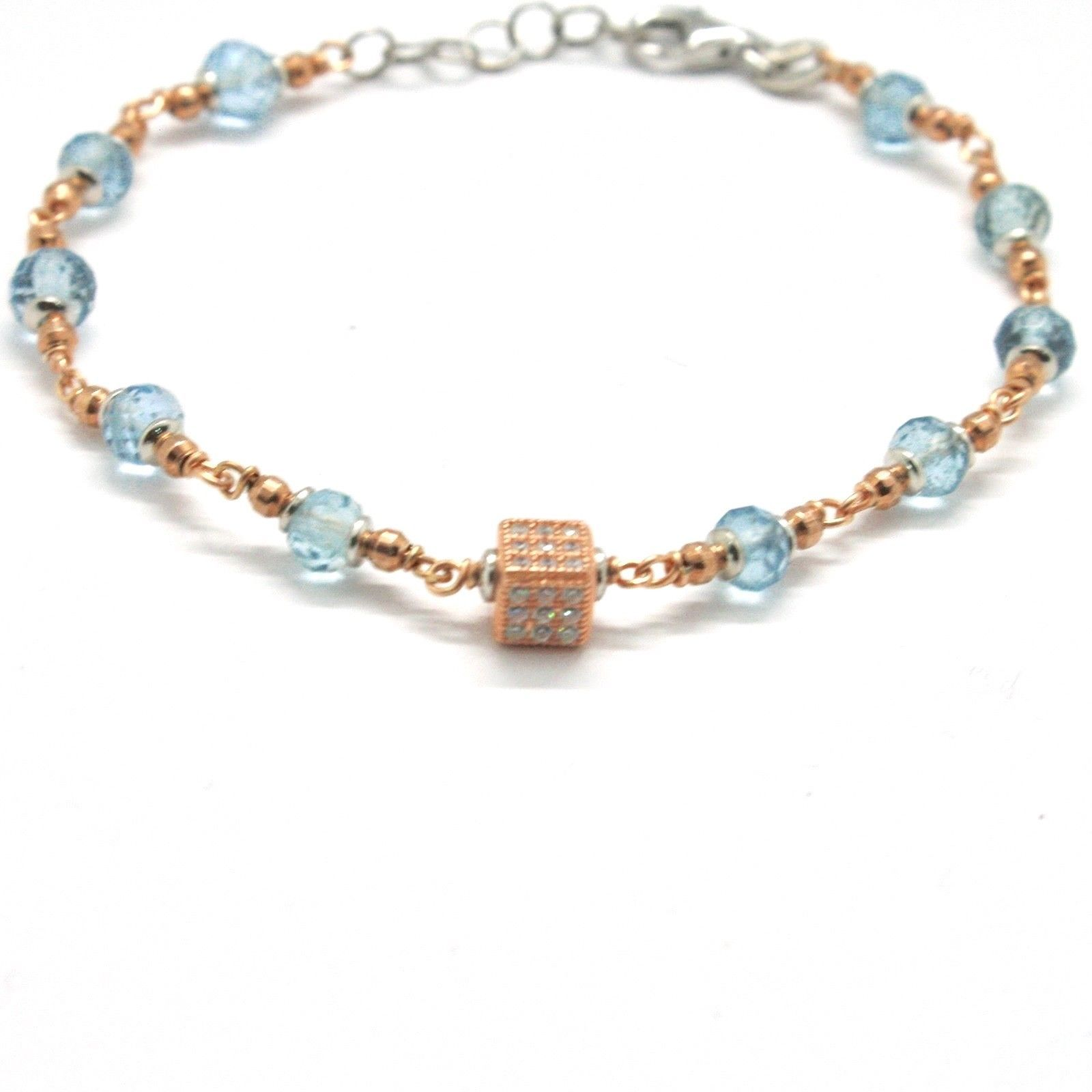 Silver Bracelet 925 Laminated in Rose Gold with Aquamarine and Zircon Cubic image 3