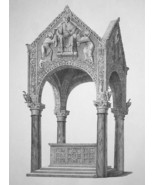ITALY Milan Altar & Canopy Basilica of St. Ambrose - SUPERB 1843 Antique... - $25.20