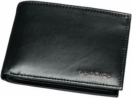 Nautica Men's Genuine Leather Credit Card Id Wallet Bifold Black 31NU22X024