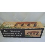 Vintage 4pc Ceramic Measuring Cups with Hanging Wood Wall Rack. New in Box - $29.99