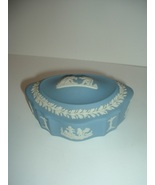 Wedgwood Jasperware Oval Trinket or Dresser Box with turned up ends - $14.24
