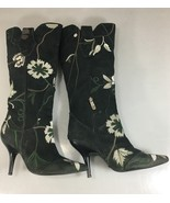 """Paolo Conte Womens 36EU 6US Floral Embroidered Suede 4"""" Heels Knee-High ... - $63.21"""