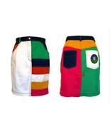 80s Denim Colour Block High Waist Pencil Wiggle Skirt Rainbow Denim Prid... - $50.00