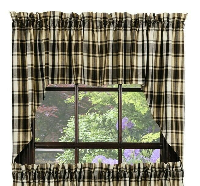 Primary image for country cabin lodge farmhouse Moss Wood green brown cream plaid Swag Curtains