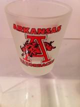 Arkansas RAZORBACKS--SHOT GLASS--FROSTED--NCAA---SHIPS FREE---NICE - $9.85