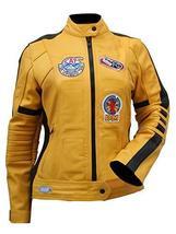 Womens The Bride Kill Bill Uma Thurman Biker Yellow Leather Jacket image 1