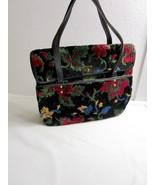 Cara Vintage Chenille Carpet Bag Large Handbag Purse Black Multi Color Floral - $66.49
