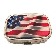 American Flag Silver Two Compartment Rectangular Pocket/Purse/Travel Pil... - $237,03 MXN
