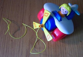Fisher-Price 1980 VINTAGE COLORFUL PLASTIC PLANE PULL TOY - $19.80