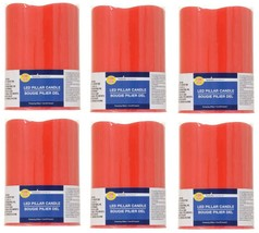 Lot 6 Luminessence Battery-Operated Red Wax LED Pillar Candles, 4 in. - $16.61