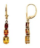 14K Gold Citrine/Madeira Citrine Lever Back Earrings - $289.99