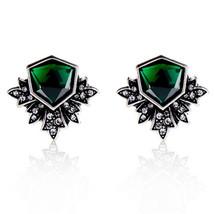 Fashion Brand Jewelry Vintage Silver Green Gem Crystal Wing Stud Earring Women A - $7.99
